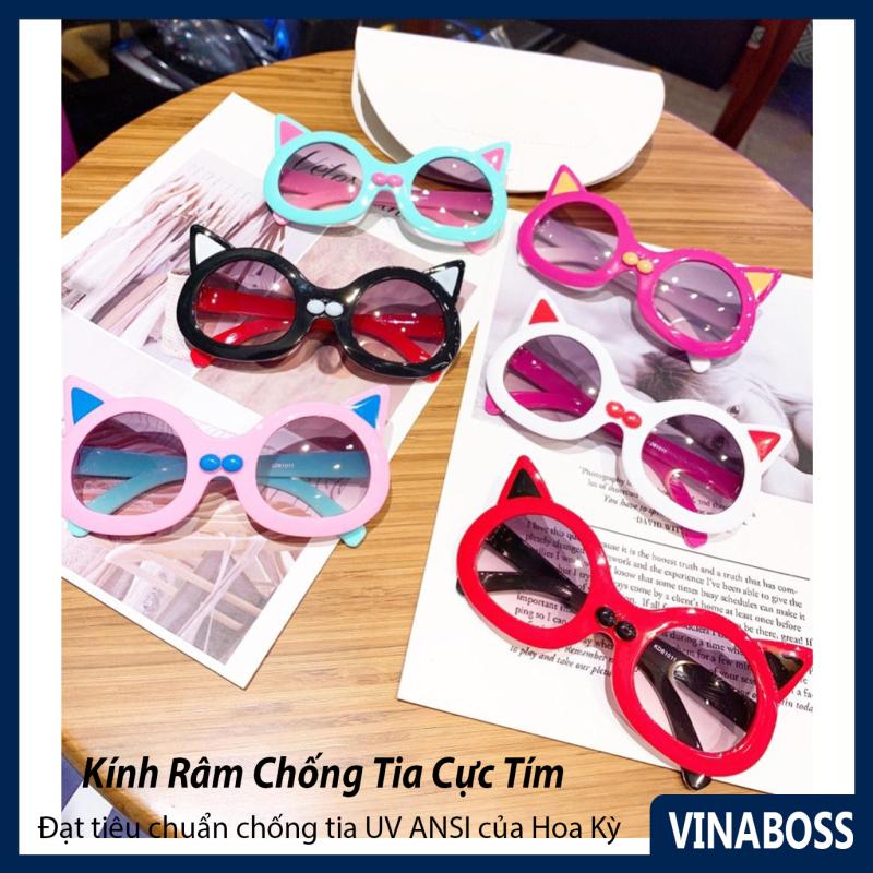 Giá bán Kính mát cao cấp chống tia UV dành cho bé gái hình mèo siêu dễ thương VN61011 - Kính râm thời trang cho trẻ từ 2 tới 9 tuổi - Tặng kèm túi đựng kính + Khăn lau