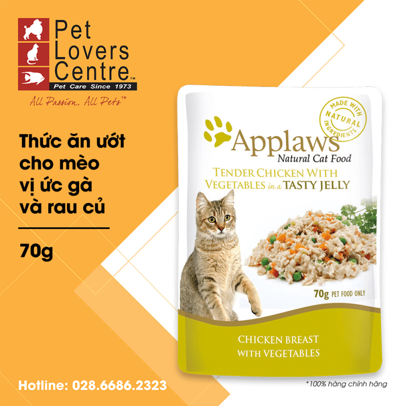 Thức ăn ướt cho mèo APPLAWS  POUCH CHICKEN WITH VEGETABLES IN JELLY FOR CATS 70g