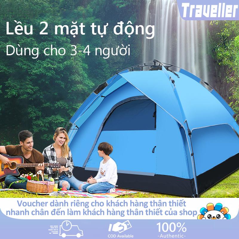 [HCM]Lều dã ngoại tự động giá đỡ thủy lực 3-4 người hai tầng lều cắm trại lều câu cá lều bãi biển hai lớp chống nắng thoáng khí không gian lớn  camry