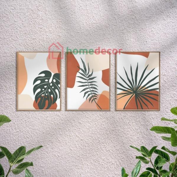 Set 3 tranh treo tường vải canvas phong cách tối giản Boho decor phòng khách phòng ngủ khung composite
