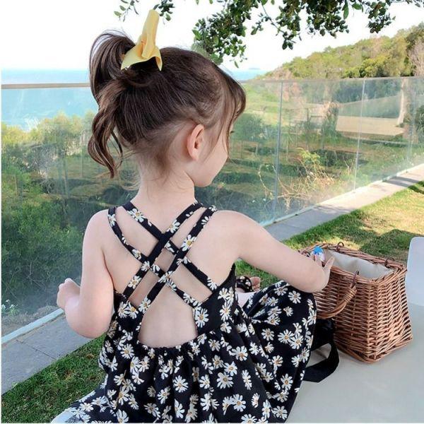 Giá bán (kem ảnh thật) Váy 2 dây cách điệu hoạ tiết hoa cúc cho bé