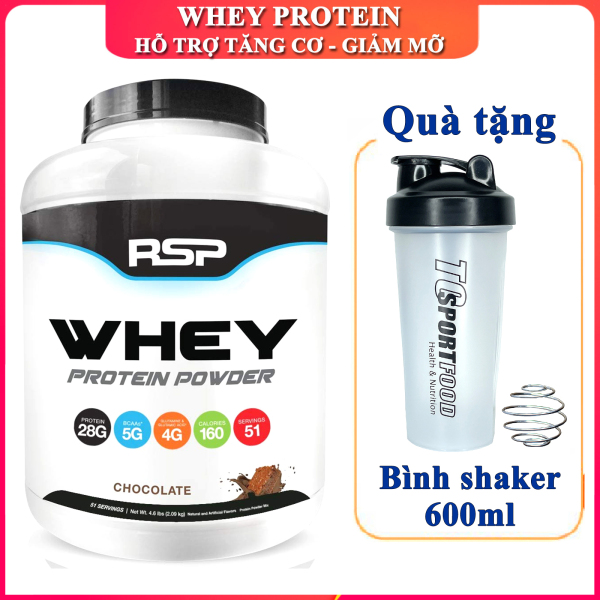 [FREE SHAKER] Sữa tăng cơ giảm mỡ Whey Protein Powder của RSP hương chocolate hộp 51 lần dùng hỗ trợ tăng cơ, tăng sức bền sức mạnh, đốt mỡ giảm cân cho người chơi thể thao và tập GYM