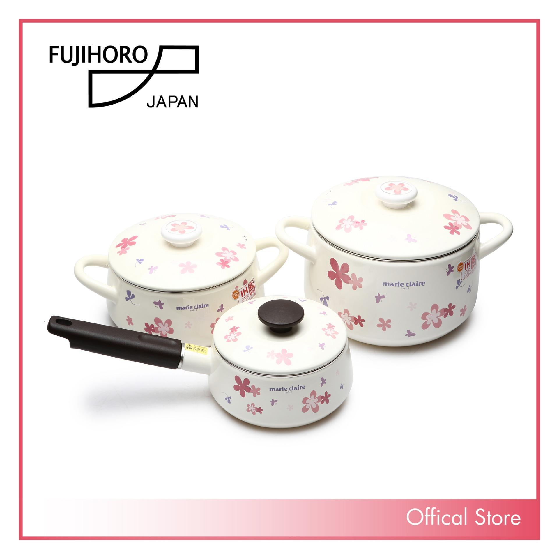 Bộ 3 nồi tráng men Nhật Bản cao cấp Fujihoro MCPV (16S , 20W, 22DW) - sử dụng bếp từ