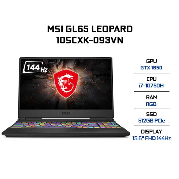 Bảng giá Laptop MSI GL65 Leopard 10SCXK-093VN i7-10750H | 8GB | 512GB | VGA GTX 1650 4GB | 15.6 FHD 144Hz | Win 10 Phong Vũ