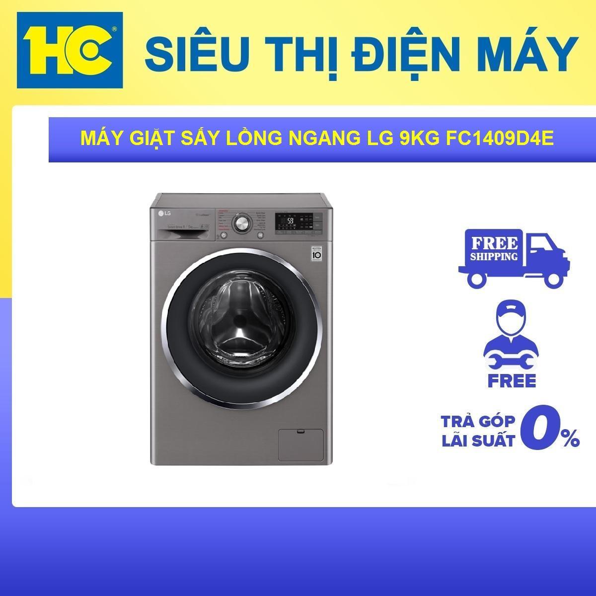 Máy giặt sấy lồng ngang Inverter 9kg LG FC1409D4E-Tiết kiệm điện với Công nghệ giặt 6 chuyển động-Bảo hành 2 năm