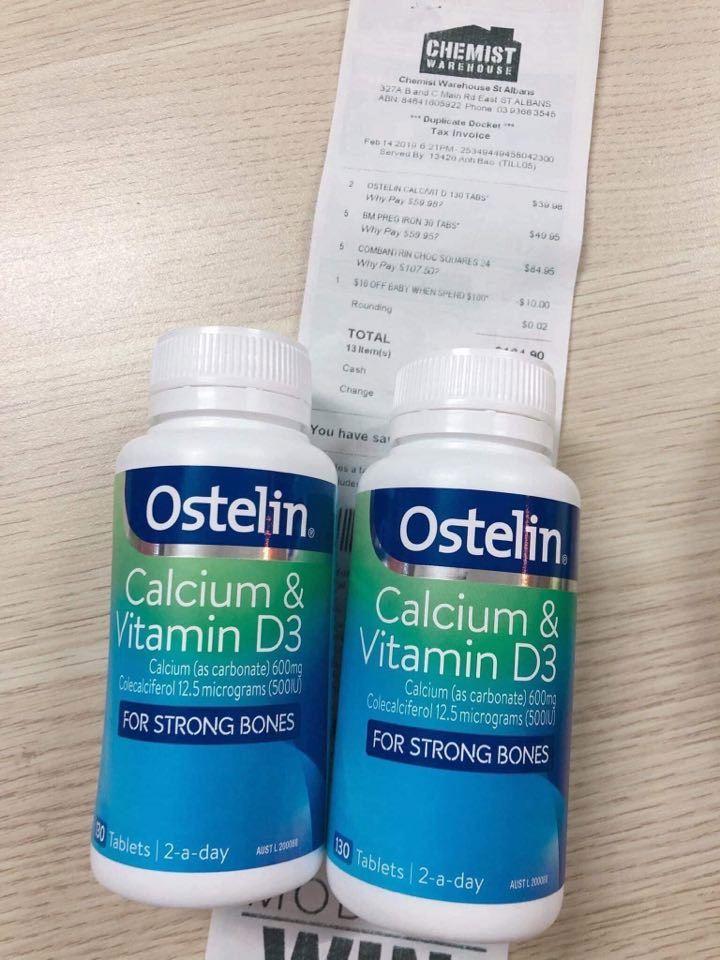 Canxi bầu, Ostelin canxi & Vitamin D3, 130 viên nhập khẩu