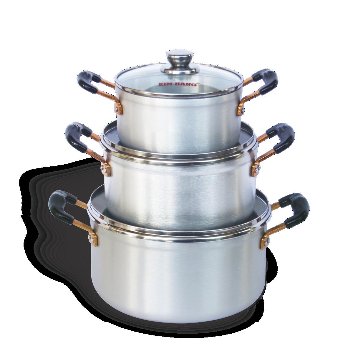 Bộ Nồi Nhôm đáy từ KH Long-life T3 nhỏ Kim Hằng KHG8037 (bộ 03 size: 16-20-24CM) nắp kiếng cường lực, (nấu được trên bếp từ bếp điện bếp hồng ngoại bếp gas) kiểu dáng đẹp, tiện lợi