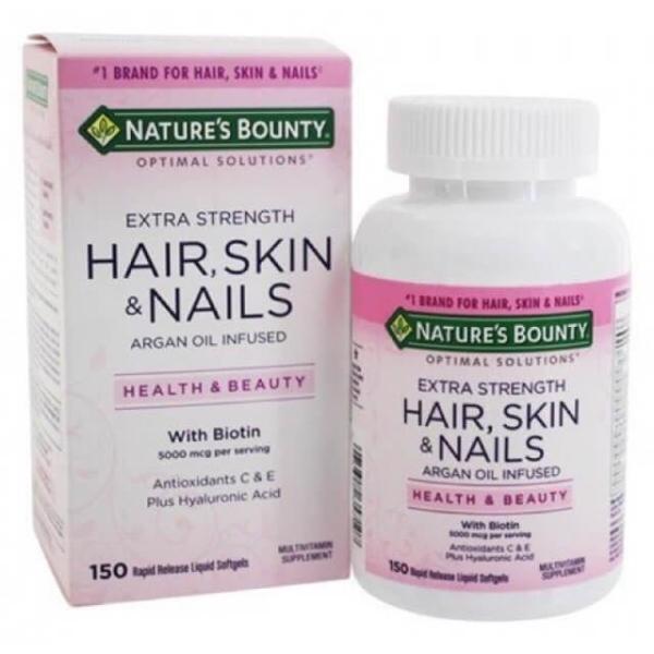 Vitamin làm đẹp da, tóc, móng Hair Skin and Nails Natures Bounty 150 viên giá rẻ
