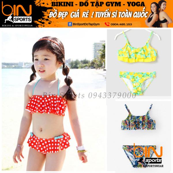 Giá bán Bộ Đồ Bơi Bé Gái 2 Mảnh Viền Bèo Dễ Thương Nhiều Màu Đáng Yêu Size Từ 10kg Đến 30kg Bin Sports BB008