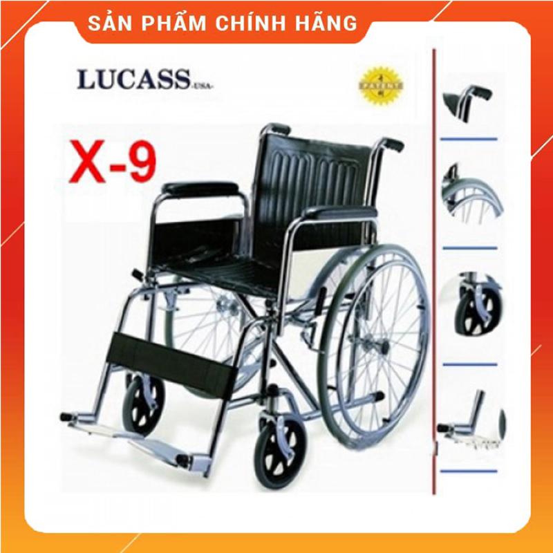 Xe Lăn Tiêu Chuẩn Lucass X9 -  Xe Lăn Tay dành cho người già, người tàn tật – Người sử dụng có thể tự di chuyển – Khung xe chắc chắn, kiên cố, chịu tải trọng 120kg - HÀNG CHÍNH HÃNG - BH 6TH