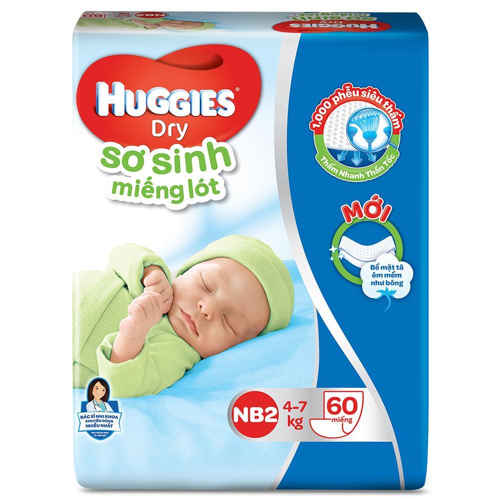 Bỉm tã lót Huggies NB2 60 từ 4-7kg