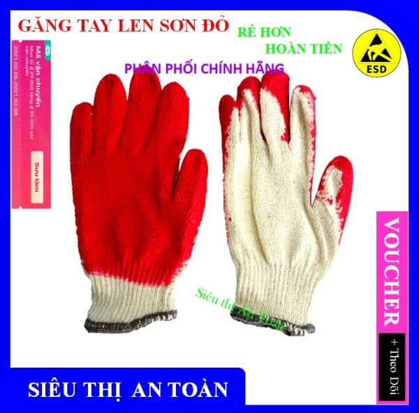 [ Combo 30 x Đôi ] Găng tay sơn đỏ, găng tay len phủ sơn đỏ, găng tay bảo hộ lao động, găng tay chất lượng