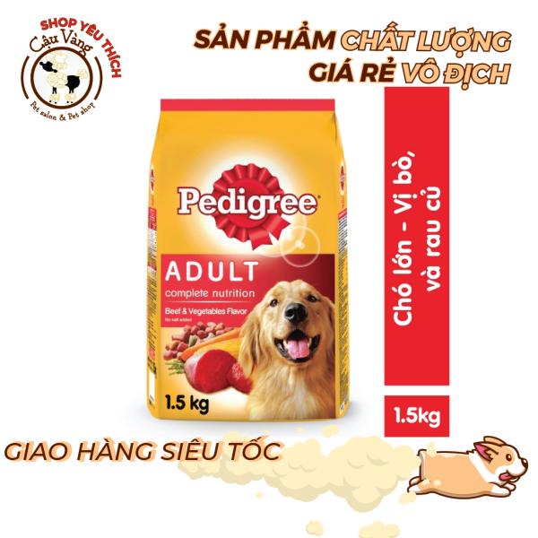 Thức ăn cho chó lớn dạng hạt Pedigree vị thịt bò , gà , Trứng sữa & rau củ túi 1.5kg