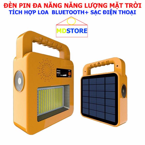 Đèn pin cầm tay đa năng, tích hợp Loa bluetooth, sạc dự phòng điện thoại Năng lượng mặt trời