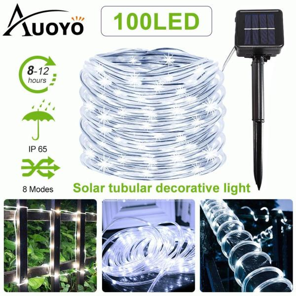Auoyo 100LED Solar Lights Outdoor Lighting Solar Rope String Light Decorative Tubular lamp Garden IP65 Waterproof Christmas Lamp with 8 Mode for Home Landscape Wedding (1PCS)