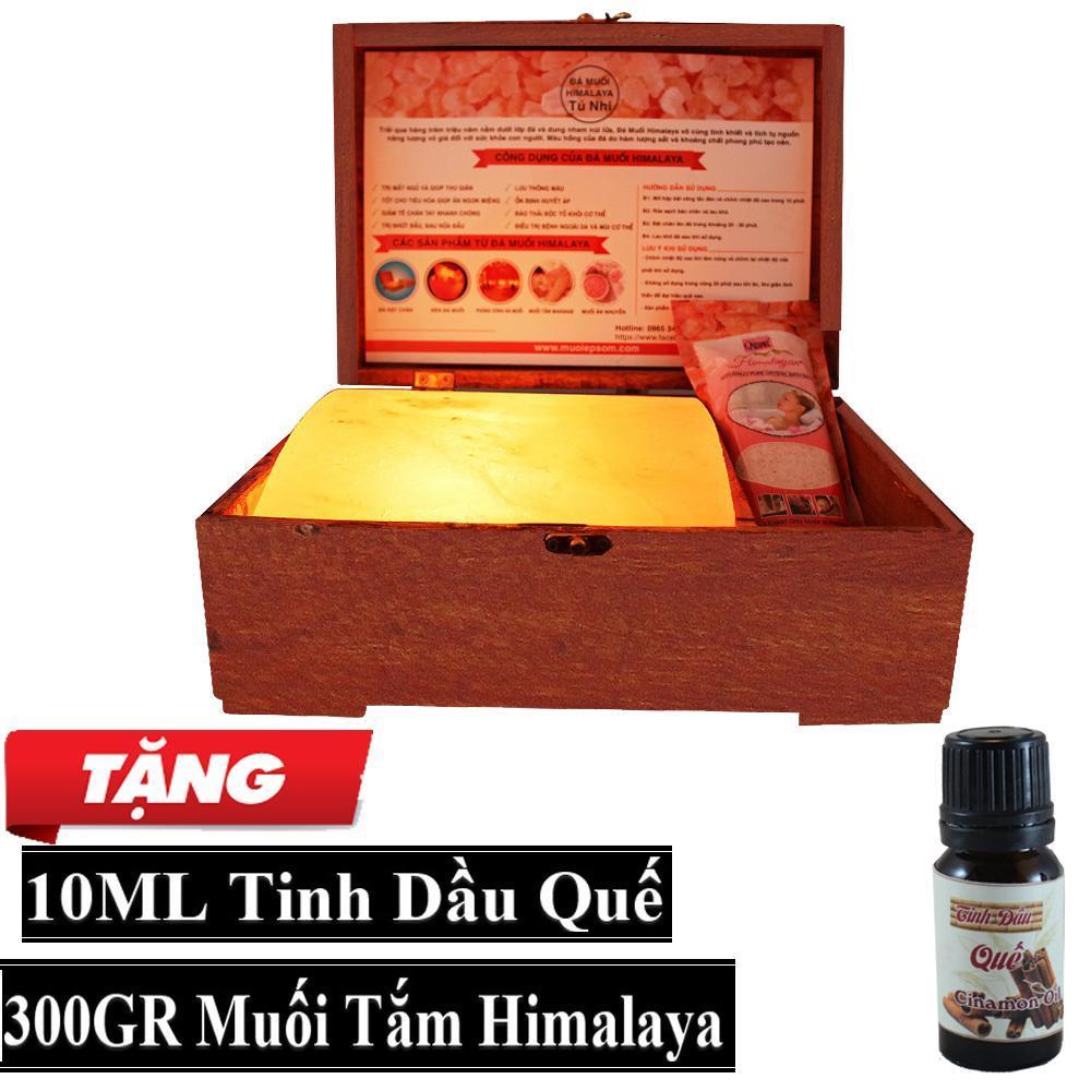 Hộp Đèn Đá Muối Himalaya Mặt Cong Massage + Tặng 10ml Tinh Dầu Quế + 300gr Muối Tắm Himalaya cao cấp