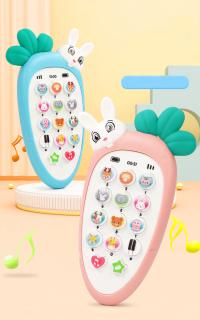 Điện thoại cà rốt thỏ trắng phát nhạc, tiếng động vật, TẶNG KÈM PIN đồ chơi giúp bé phát triển và nhận biết âm thanh thumbnail