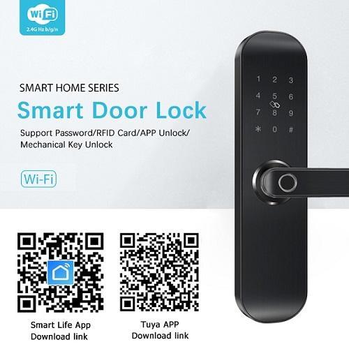 Khóa cửa vân tay kết nối wifi điều khiển qua ứng dụng Smart Life