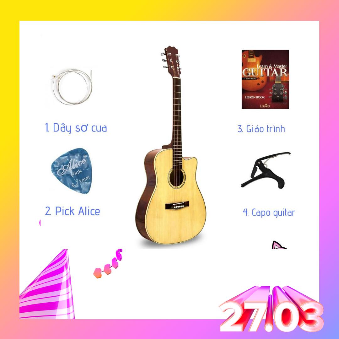 Đàn Guitar Acoustic KBD MS 2020 + pick gảy , giáo trình online hướng dẫn cho người mới tập chơi.[TẶNG KÈM KHÓA HỌC]
