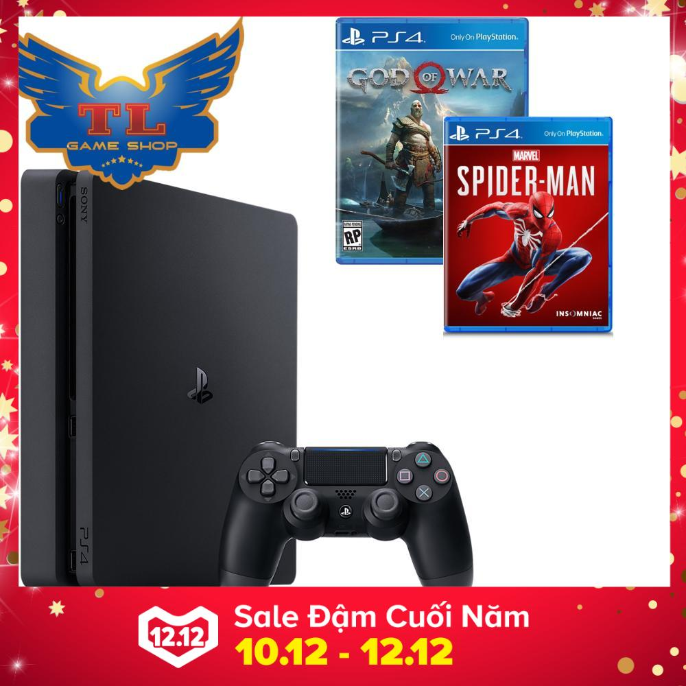 Hình ảnh COMBO Bộ Máy Chơi Game Playstation PS4 slim 500GB + Kèm 2 Game Spiderman & God Of War