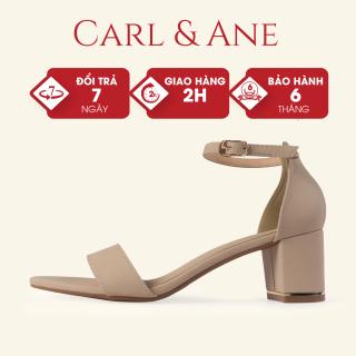 Giày sandal cao gót thời trang Erosska mũi hở bít gót phối quai ngang 7 cm màu nude - CS008 thumbnail