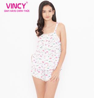 Đồ bộ nữ Vincy kate ngắn 2 dây viền ren trắng họa tiết hoạt hình BSK181W91 thumbnail