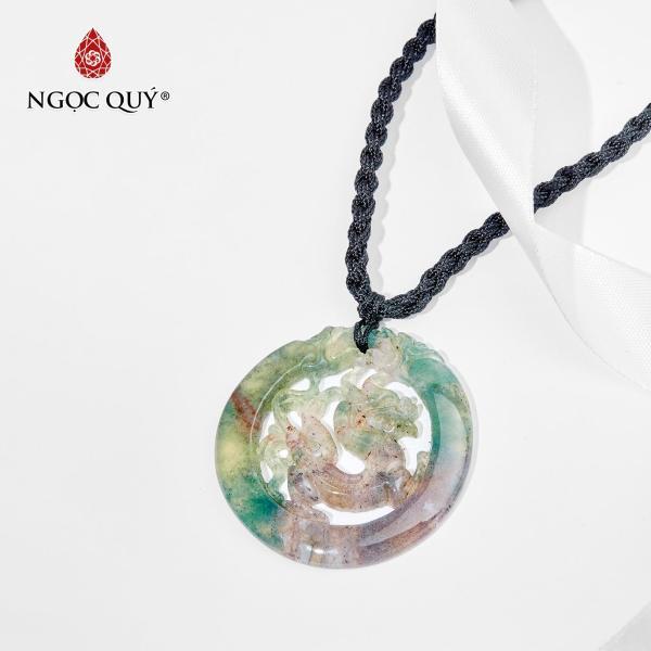 [HCM]Mặt dây chuyền đá chalcedony chạm rồng mệnh hỏamộc (màu xanh lá) - Ngọc Quý Gemstones