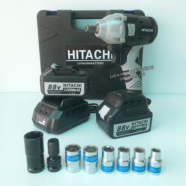 Máy siết bulong Hitachi 88v, 2 pin, đầu 2 trong 1, 100% dây đồng, không chổi than, tặng 7 đầu khẩu trắng - đầu chuyển vít