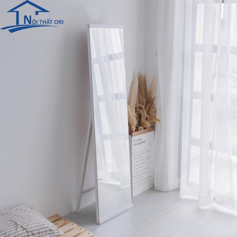 Gương đứng soi toàn thân khung gỗ tràn viền màu trắng 40*160