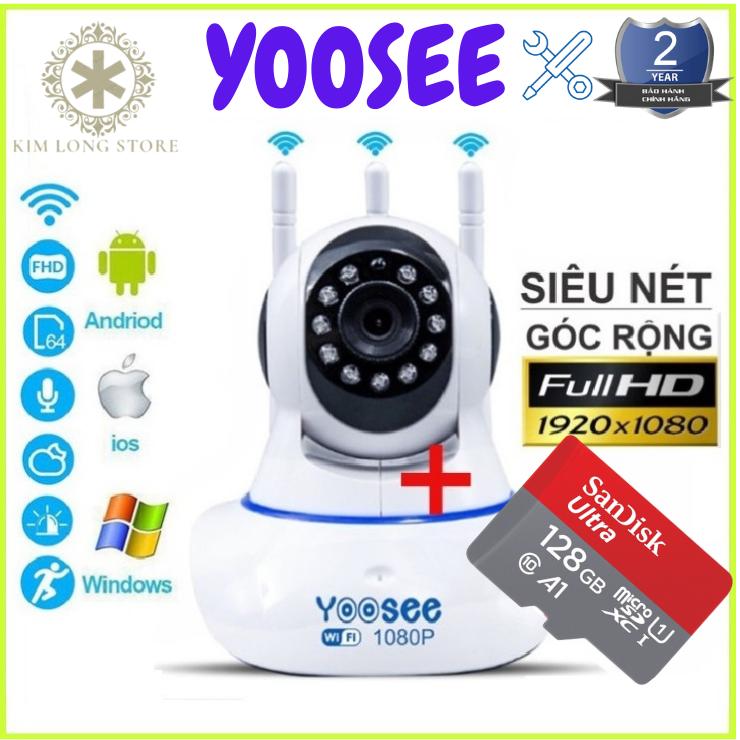 (Camera wifi yoosee xoay 360 độ-Chuẩn 2.0 mpx -Tùy chọn kèm thẻ  128 YOOSEE CHUYÊN DỤNG ,BH 5 NĂM ) - CAMERA IP WIFI,camera yoosee 3 râu-SIÊU NÉT 2.0 FULL HD 1920 x 1080P(CÓ 4 MÃ KHÔNG THẺ,32GB,64GB,128GB