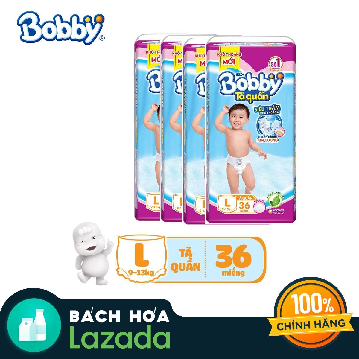 Bộ 4 Tã/bỉm quần Bobby Siêu thấm L36 (9-13kg)