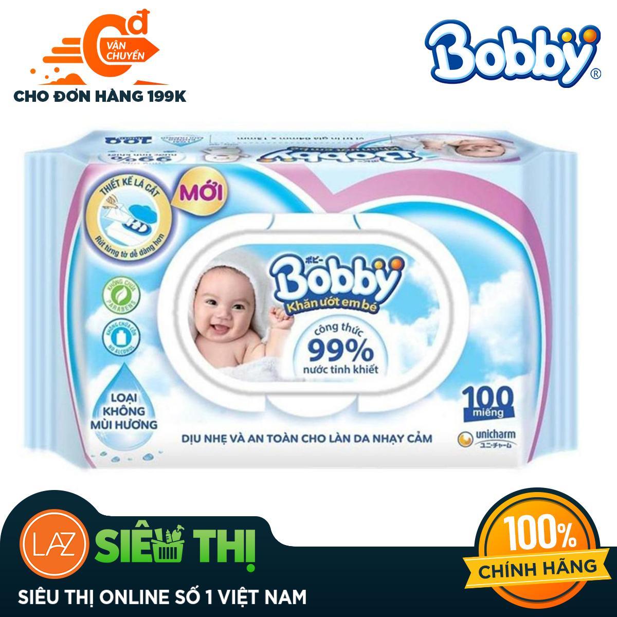 [Siêu thị Lazada] - Khăn ướt trẻ em Bobby Care không mùi hương gói 100 miếng