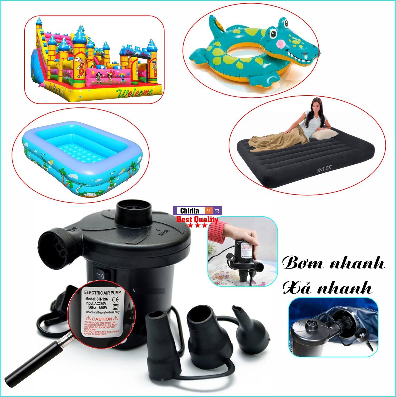 Máy Bơm Hút Điện Đa Năng SH-196 - Bơm Phao Bơi, Nhà Hơi, Nệm Hơi, Bể Bơi Phao... - Chirita  BPD01 Nhật Bản