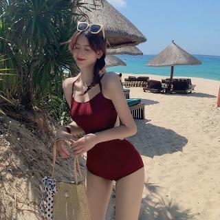 [HÀNG QUẢNG CHÂU] Set bikini liền mảnh thun gân đỏ đô cá tính thumbnail