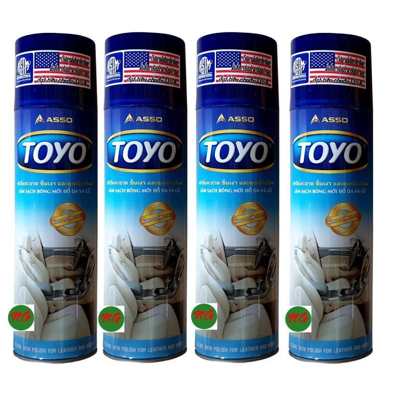 Bộ 4 chai xịt TOYO 500ml làm bóng sạch và mới đồ nhựa đồ da đồ gỗ cao su và formica TOYO 500ml