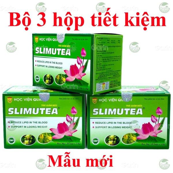 Bộ 3 hộp Trà giảm béo Slimutea Học Viện Quân Y (20 gói x 3) giúp hạ mỡ máu, giảm khả năng hấp thụ chất béo và ngăn ngừa mỡ thừa hình thành