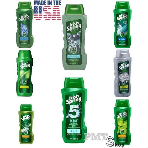 [USA] Sữa Tắm Irish Spring 532ml Original, Deep Action Scrub, Exfoliating Clean, Aloe, Non Stop Fresh, Skin Hydration - Mỹ