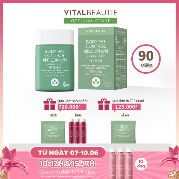 Viên Uống Giảm Hấp Thụ Mỡ Vital Beautie Meta Green Slim (90 Viên)