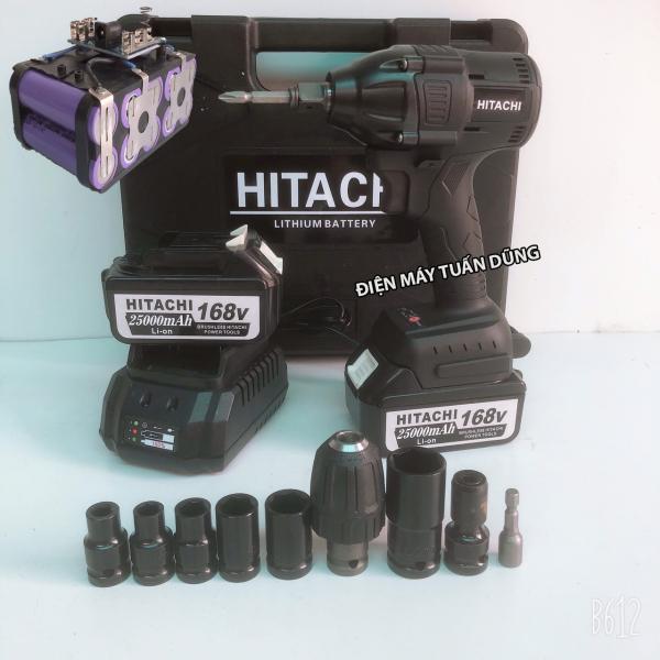Máy siết bulong dùng pin Hitachi 168V Động cơ không chổi than KÈM 2 PIN TÍM và 01 BỘ CHUYỂN ĐỔI và 5 KHẨU
