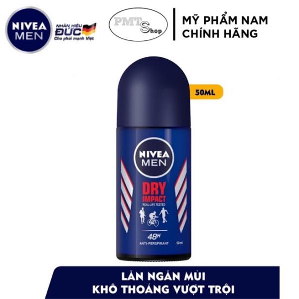 Lăn khử mùi nam Nivea Men Dry Impact 50ml ngăn mùi Khô thoáng suốt 48 giờ giá rẻ