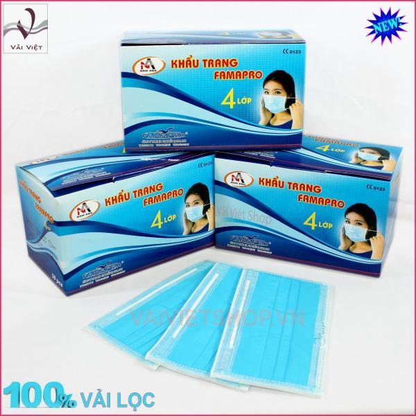 Bộ 3 hộp khẩu trang y tế màu xanh - 4 lớp vải lọc (1 Hộp/50 chiếc) cao cấp