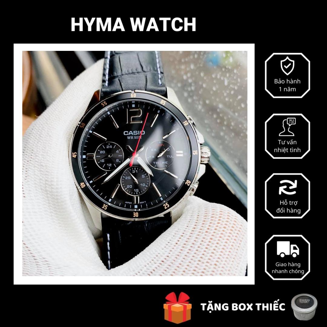 Đồng hồ nam dây da mặt đen Casio MTP 1374L-1AV Bảo hành 1 năm Hyma watch