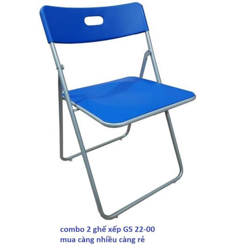 Bộ gồm 2 ghế xếp - ghế gấp - ghế văn phòng Xuân Hòa GS 22-00 MÀU XANH giá rẻ