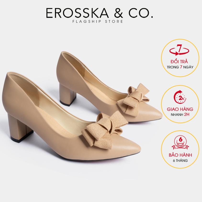 Giày cao gót Erosska thời trang mũi nhọn đính nơ điệu đà kiểu dáng cơ bản cao 5cm EP005 (NU) giá rẻ