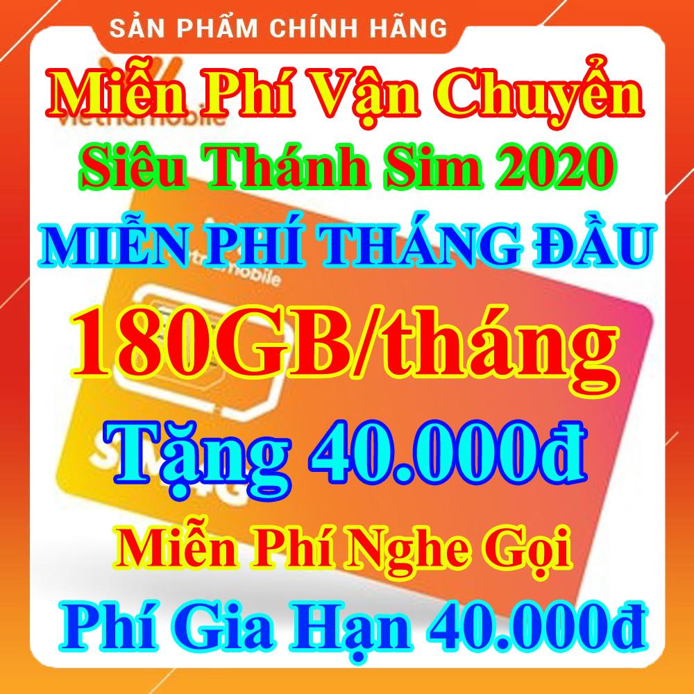 [FREESHIP] Siêu Thánh Sim 4G Mới Vietnamobile - Miễn Phí 180GB/Tháng - Miễn Phí Tháng Đầu - Nghe Gọi Cực Rẻ - Phí Gia Hạn 40.000đ - Shop Lotus Sim Giá Rẻ