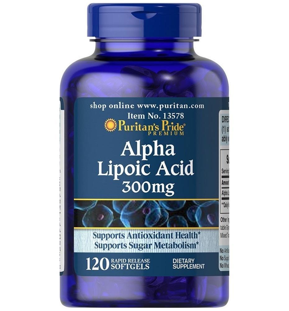 Viên uống đẹp da, chống lão hóa, giảm biến chứng thần kinh ở người tiểu đường Alpha Lipoic Acid 300mg Puritans Pride 120 viên HSD tháng 08/2019 nhập khẩu