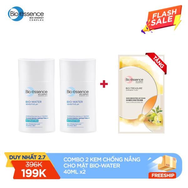 [TẶNG MẶT NẠ + HỖ TRỢ PHÍ VẬN CHUYỂN]Combo 2 Kem chống nắng cho mặt Bio-Essence Bio-Water Bio-Essence Miracle Bio Water Cooling Sunscreen SPF50 (Face) 40ml