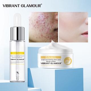 Bộ kem dưỡng trắng da mặt VIBRANT GLAMOR Snail và serum chiết xuất từ thực vật dưỡng ẩm chống lão hóa Whitening Blemish 100% Hyaluronic Acid tái tạo da - INTL thumbnail