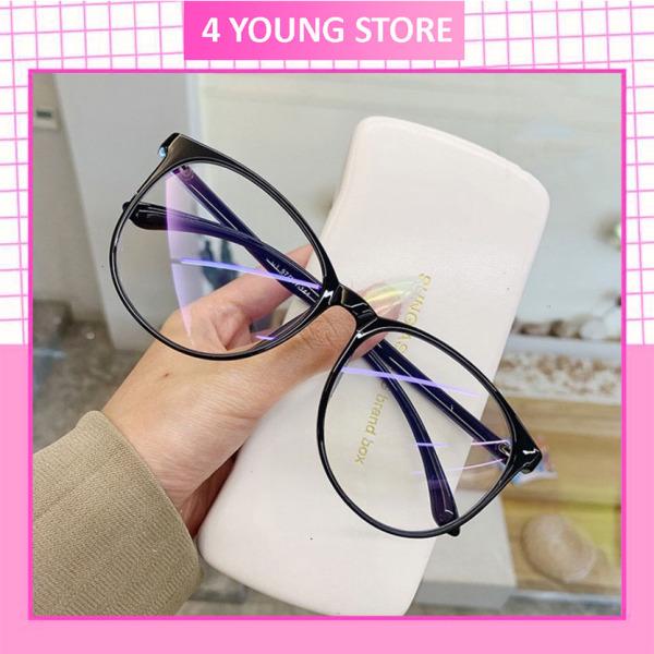 Giá bán Kính nữ giả cận không độ mắt tròn thời trang phong cách Hàn Quốc chống tia UV đẹp giá rẻ, kính mát Unisex chống ánh sáng xanh thay được tròng cận 068