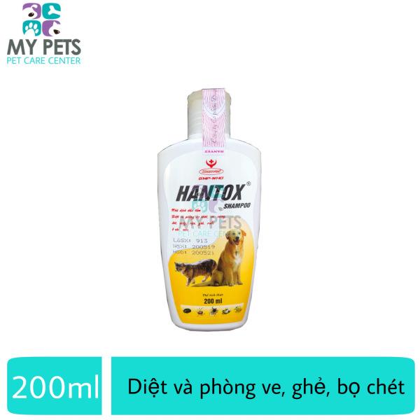 Sữa tắm sạch ve ghẻ, bọ chét chó mèo Hantox Shampoo Vàng - Chai 200ml